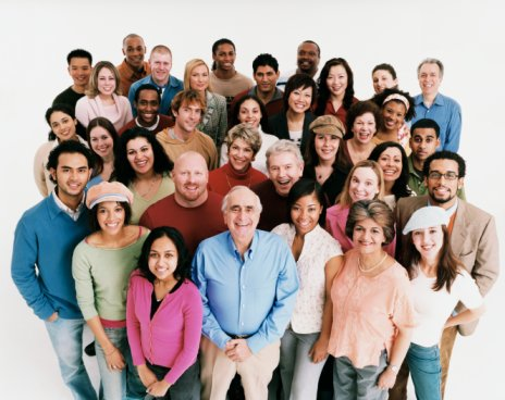 ... Shot of a Large Mixed Age, Multiethnic Group of Smiling Men and Women