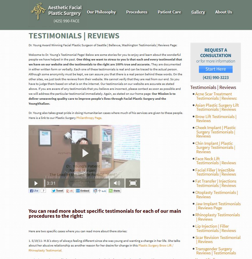 General individual procedure specific review tesimonial complaint pages